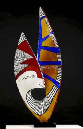Janus - Fer, plâtre, résine - 126x 52 x 34 cm